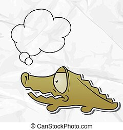 EPS 8 crumpled paper background with vector crocodile
