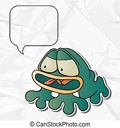 EPS 8 crumpled paper background with vector frog