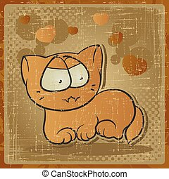 EPS 8 vintage background with vector cat