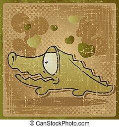 EPS 8 vintage background with vector crocodile