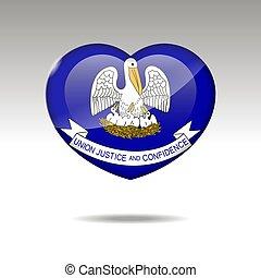 eps, bandiera louisiana, simbolo., amore, 10, stato, icon., cuore