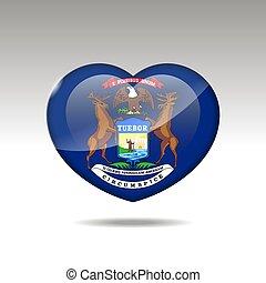 eps, bandiera, simbolo., amore, 10, stato, michigan, cuore, icon.
