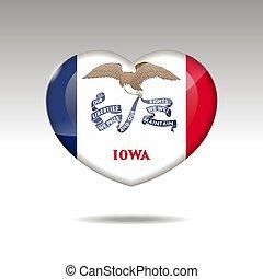 eps, bandiera, simbolo., amore, iowa, 10, stato, icon., cuore