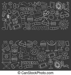 eps., conjunto, cine, película, set., iconos, pattern., icons., mano, fondo., images., vector., cinematografía, dibujado, texture.