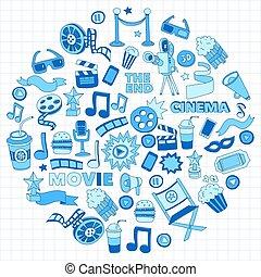 eps., conjunto, cine, película, set., iconos, pattern., ...