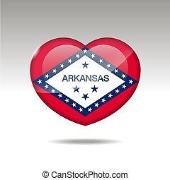eps, cuore, arcansas, icon., bandiera, simbolo., stato, 10, amore