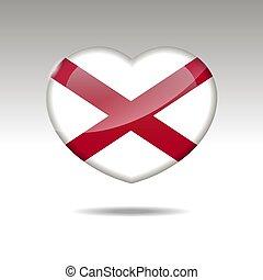 eps, cuore, icon., bandiera alabama, simbolo., stato, 10, amore