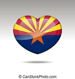 eps, cuore, icon., bandiera, arizona, simbolo., stato, 10, amore