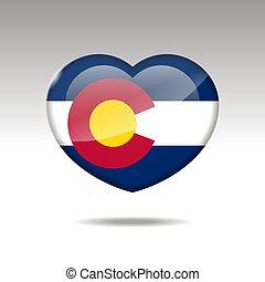 eps, cuore, icon., bandiera colorado, simbolo., stato, 10, amore