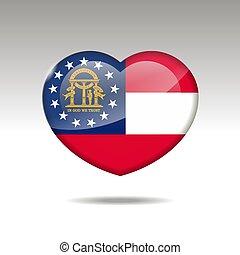 eps, cuore, icon., bandiera georgia, simbolo., stato, 10, amore