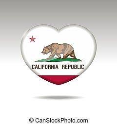 eps, cuore, icon., bandiera, simbolo., stato california, 10, amore