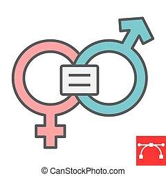 eps, derechos, señal, sexismo, contorno, género, icono, editable, feminismo, línea, gráficos, llenado, igual, color, 10., vector, igualdad, golpe