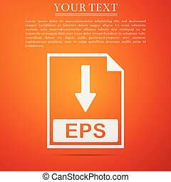 EPS file document icon. Download EPS button icon isolated on orange background. Flat design. Vector Illustration