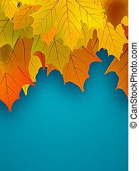 eps, foliage., outono, laranja, 8, maple