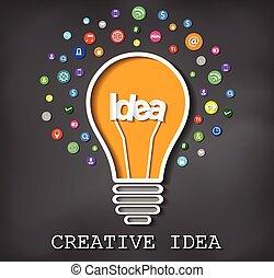 eps, idé, blackboard, lök, lätt, 10, icon., vektor, skapande, bakgrund., illustration.