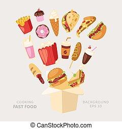 eps., illustration., broodje, spotprent, maaltijd, vasten, pizza, vector, delievery, hamburger, box., hapjes, tien, vliegen, restaurant, voedingsmiddelen, hamburger, het koken, ongezonde