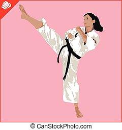eps., karate, mujer, silueta, scene., marcial, vector., arts...