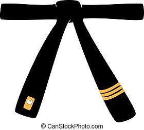eps, karate, nero, logotipo, sport, cintura