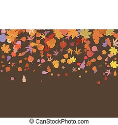 eps, leaves., automne, multicolore, 8, tomber