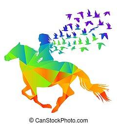 .eps, mulher, cavaleiro, padrão, abstratos, geométrico, pássaros