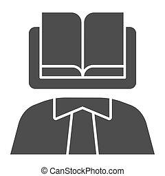 eps, persoon, pictogram, web, boek, body., kennis, achtergrond, wetenschapper, 10., hoofd, glyph, stijl, app., witte , icon., vast lichaam, jurisprudentie, ontwerp, gebruiken, concept
