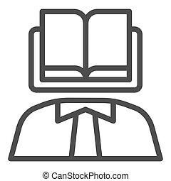 eps, persoon, pictogram, web, boek, body., kennis, lijn, achtergrond, wetenschapper, 10., hoofd, stijl, app., witte , icon., ontwerp, jurisprudentie, schets, gebruiken, concept