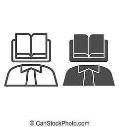 eps, persoon, pictogram, web, boek, body., kennis, lijn, achtergrond, wetenschapper, 10., hoofd, stijl, app., witte , icon., ontwerp, vast lichaam, jurisprudentie, schets, gebruiken, concept