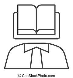 eps, persoon, pictogram, web, boek, body., kennis, lijn, achtergrond, wetenschapper, 10., mager, hoofd, stijl, app., witte , icon., ontwerp, jurisprudentie, schets, gebruiken, concept