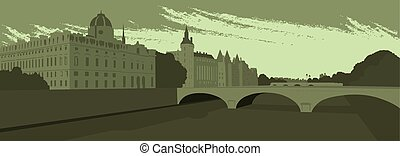 .eps, ponte, dique, cidade grande