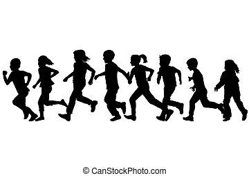 .eps, silhouettes, noir, courant, enfants
