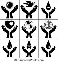 eps, tenuto, mani, 8, aperto, signs.