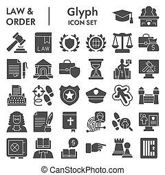 eps, vecteur, droit & loi, toile, paquet, fond, isolé, 10., ensemble, croquis, pictograms, logo, glyph, illustrations, style, blanc, ordre, symboles, icône, solide, jurisprudence, collection