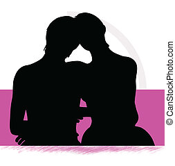 silhouette of a couple woman man in bed