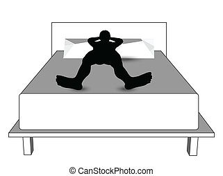 silhouette of a man in bed