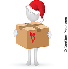 EPS Vector 10 - small 3d human with Christmas hat holding surprise
