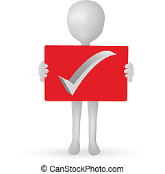 EPS Vector 10 - small 3d man hands holding a board
