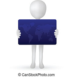 EPS Vector 10 - small 3d man hands holding a credit card