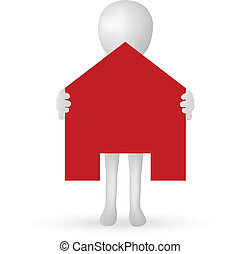 EPS Vector 10 - small 3d man hands holding a house
