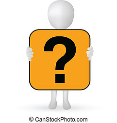EPS Vector 10 - small 3d man hands holding a question mark