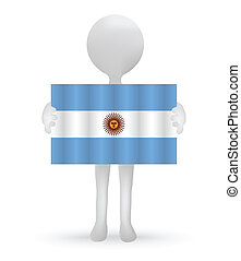 small 3d man holding a Argentinian Flag