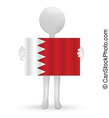 3d man holding a Bahrain Flag