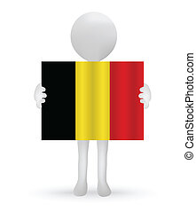 small 3d man holding a Belgian Flag
