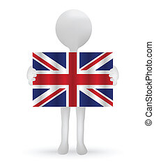 small 3d man holding a British Flag