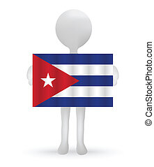 3d man holding a Cuban Flag