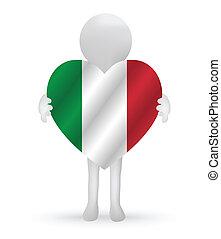 3d man holding a Italy flag