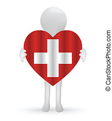 small 3d man holding a Swiss Flag - EPS Vector 10 - small 3d...