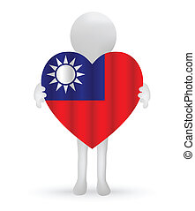 small 3d man holding a Taiwanese Flag - EPS Vector 10 - ...