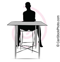 woman sitting at the table