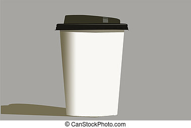 Paper Coffee Cup - EPS Vector Paper Coffee Cup with plastic ...