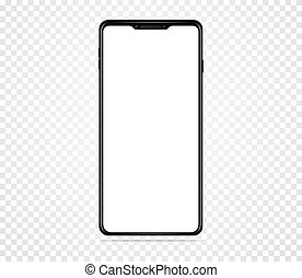 eps, vide, 10, transparent, réaliste, vecteur, blanc, screen., arrière-plan., illustration, isolé, smartphone